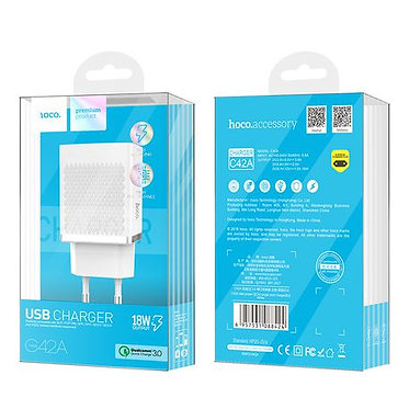 FONTE FAST CHARGER 3.0 18W 1USB C42A HOCO