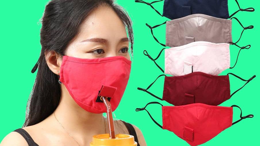 Masque lavable introduction paille