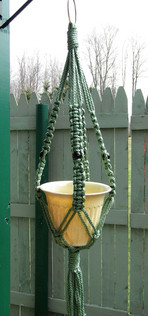 Outdoor Macrame Plant Hanger With Green Cord