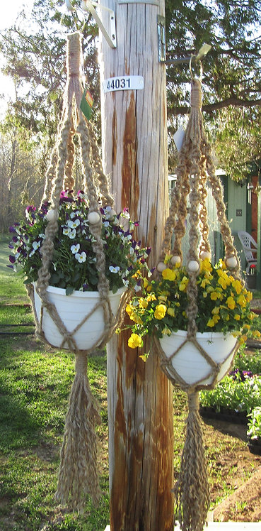 Twin pack Large  Natural Jute Plant Hangers - Outside