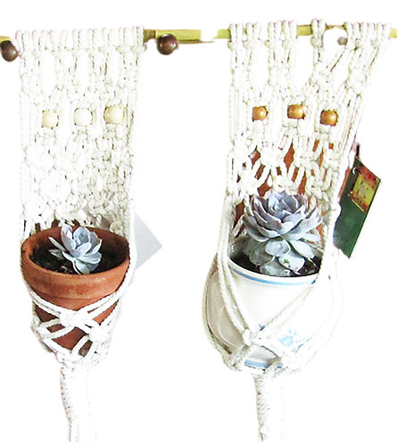 Natural Macrame Wall Planters for Mini-succulents