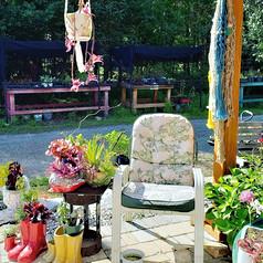 Macrame plant hangers outdoors