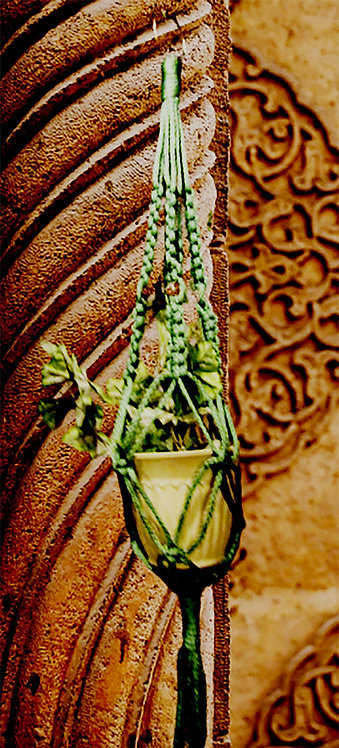 Medium Indoor-Outdoor Colored Braided Cord Macrame Plant Hangers