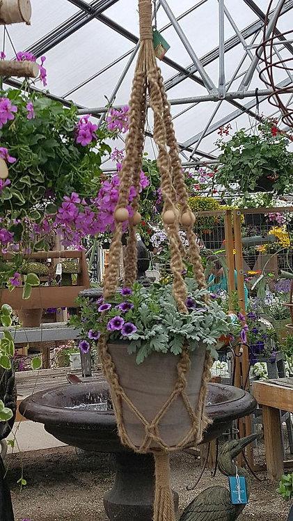 Boho-Chic Natural Jute Macrame Plant Hanger for Medium Size Plants