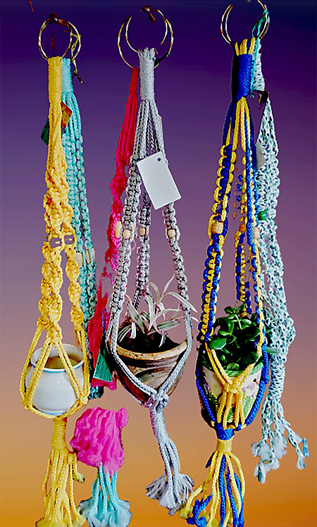 Clearance! Jute/Colored Braided cord Small/Medium Plant Hangers