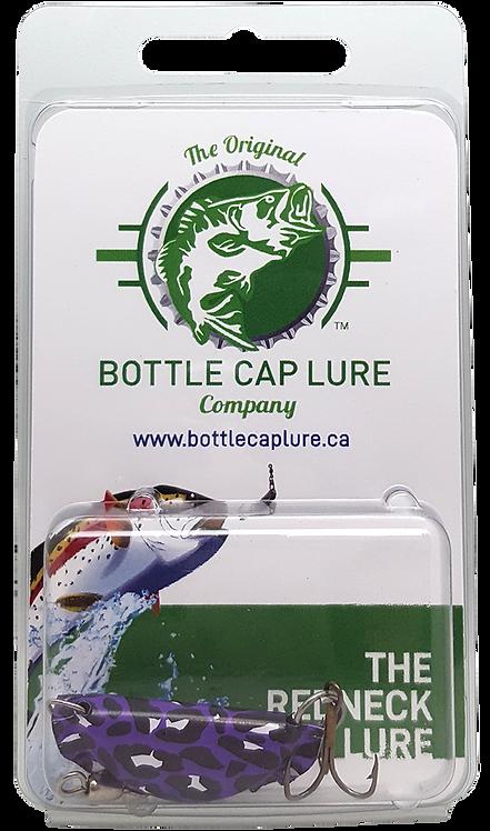 Retail - Purple and Black Leopard Bottle Cap Fishing Lure