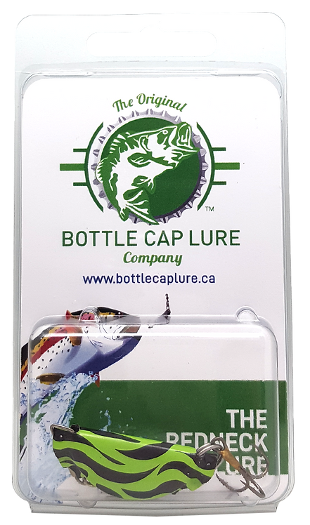 Retail - Green and Black Tiger Bottle Cap Fishing Lure
