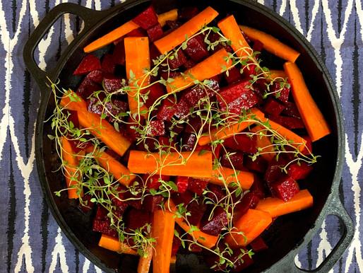Beterrabas e Cenouras cozidas com Tomilho