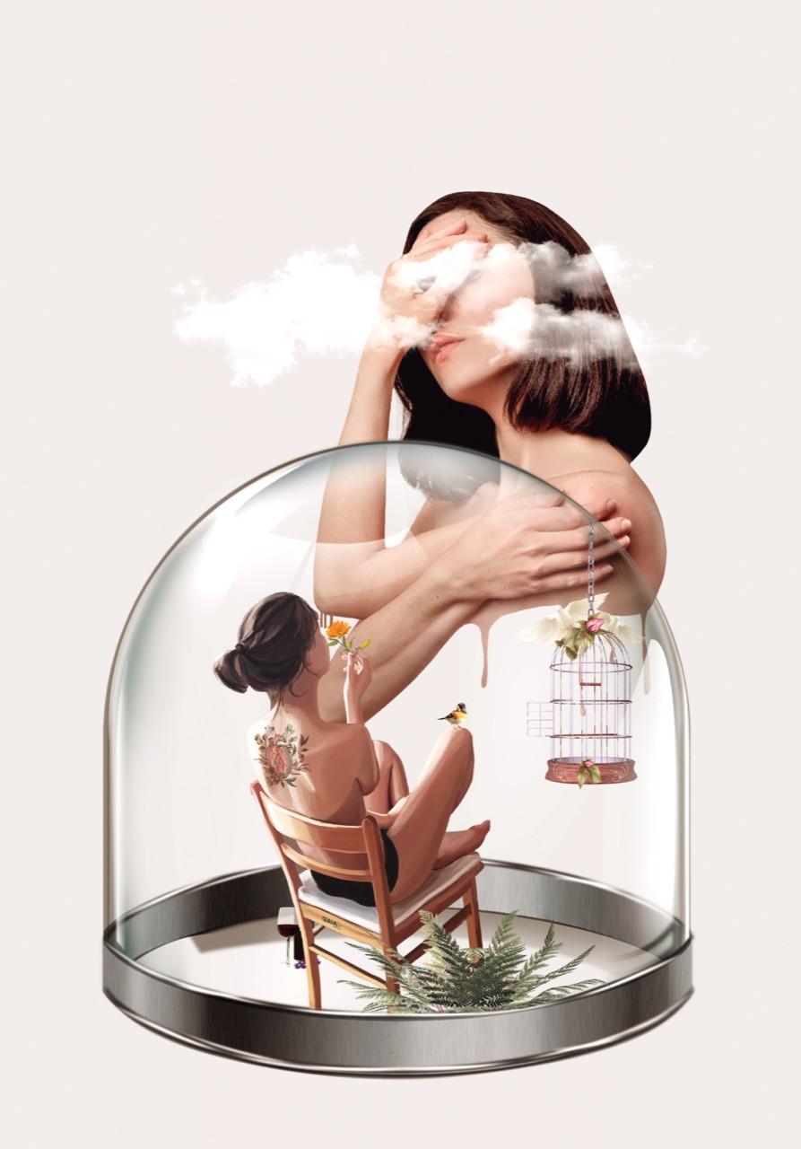 Uma colagem onde há uma mulher dentro de um glbo de neve, protegida do mundo exterior