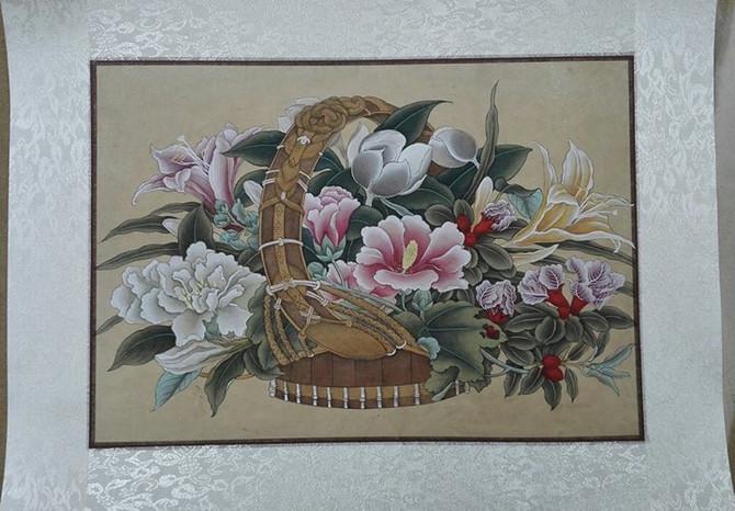 Подклейка-монтаж картин в китайском и японском стиле. Оформление в свиток.