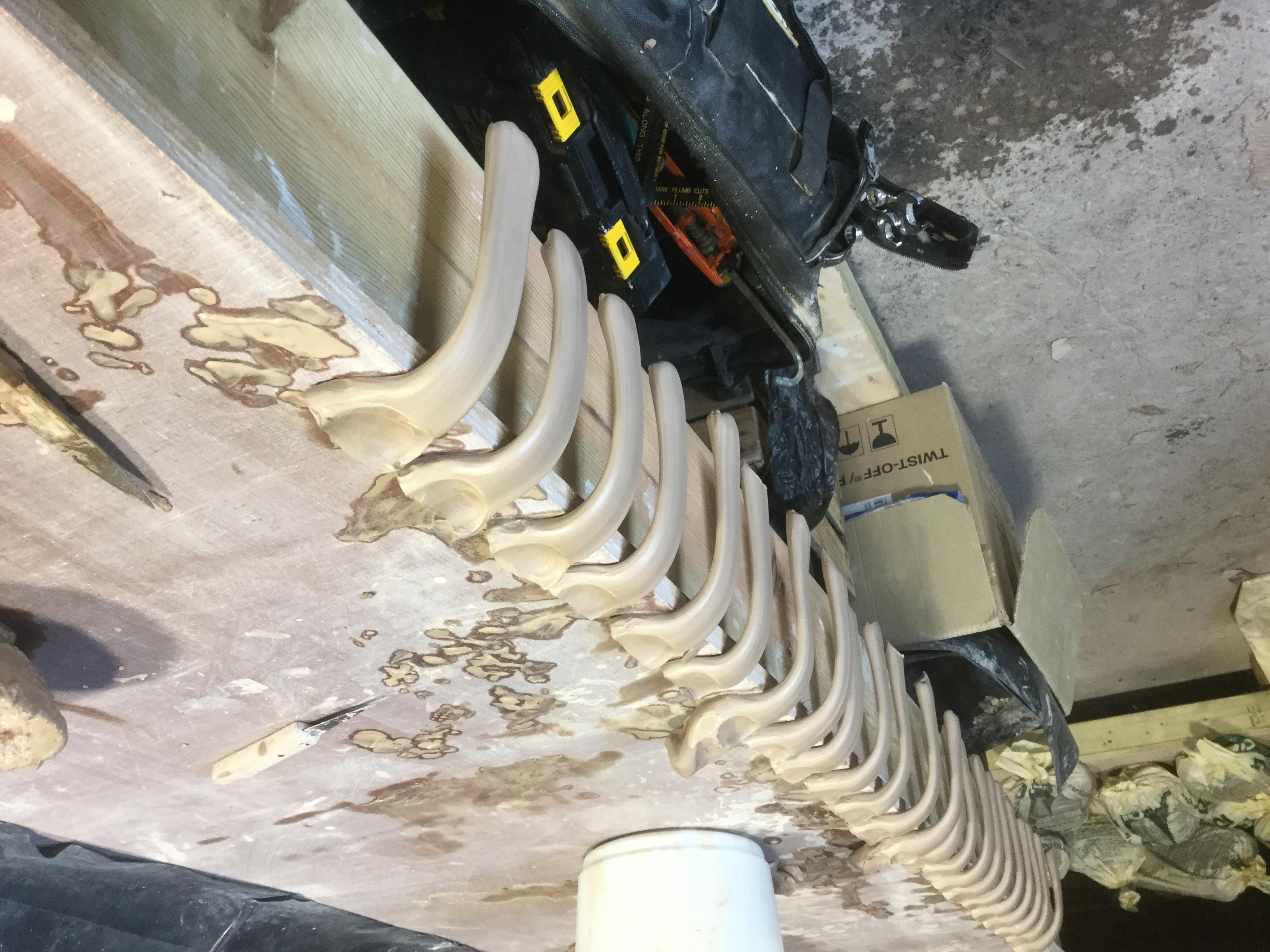 Mug handles drying in the workshop