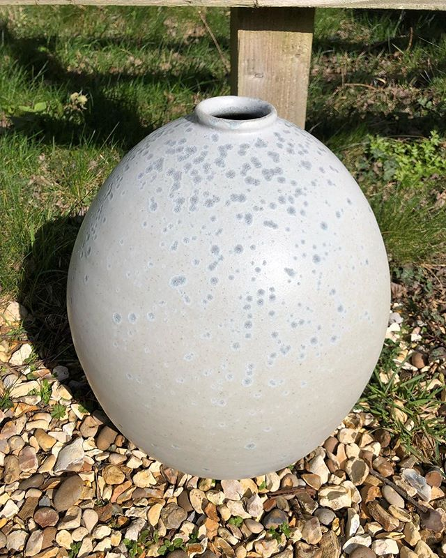 One of the moon jars out of the firing
