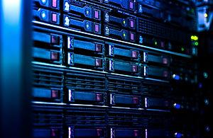 Close up server rack cluster in a data c