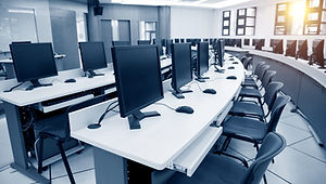 Group of computer neatly placed in a com