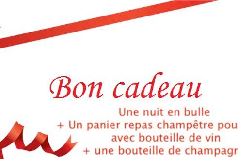 Bon cadeau pour une nuit en bulle avec champagne, repas champêtre et vin