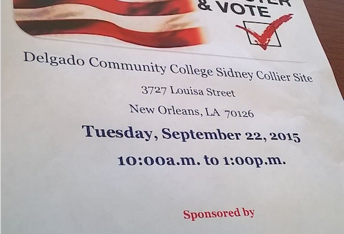Delgado Community College Voter Registra