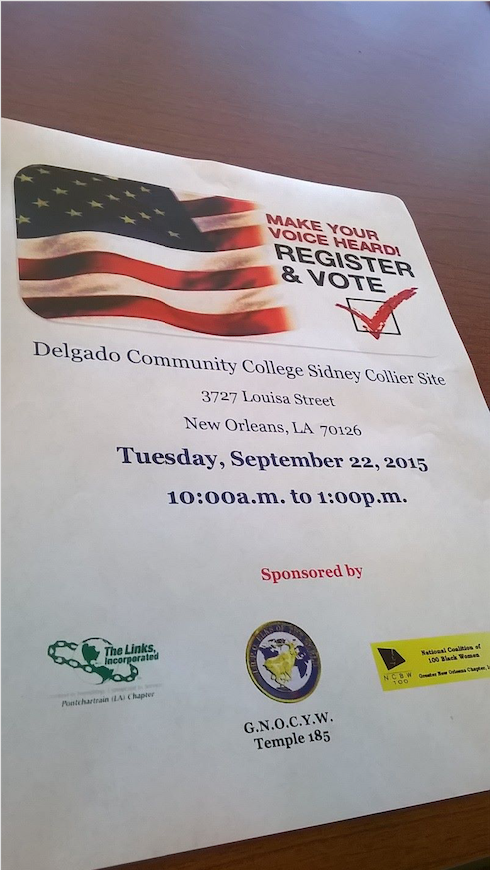 Delgado Community College Voter Registra