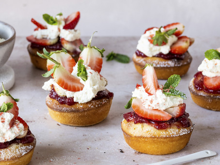 Mini Strawberry Rhubarb Shortcakes
