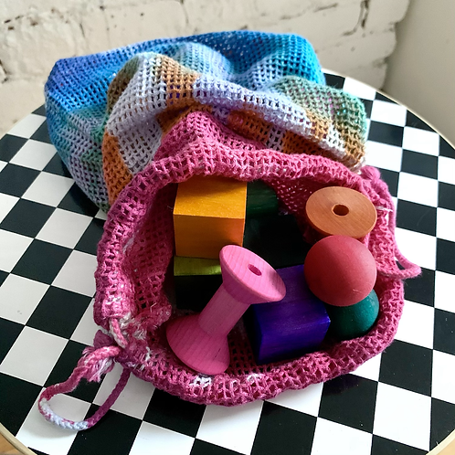 Hand Dyed Blocks in Tie-dyed Sack