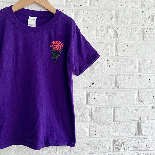 """""""Pink Rose"""" Embroidered Tee"""