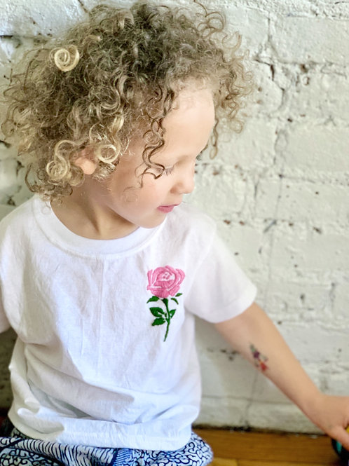 """Pink Rose"" Embroidered Tee"