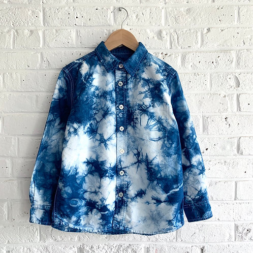 Crinkle Indigo Dyed Button-up