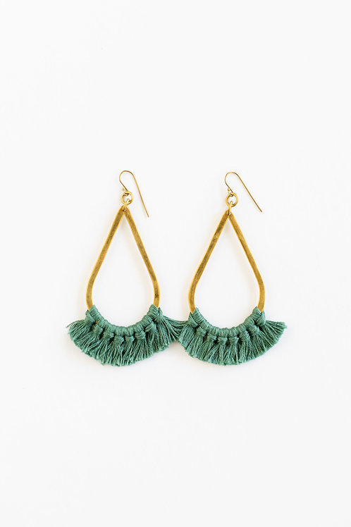 Teardrop Fringe Earrings - Jade