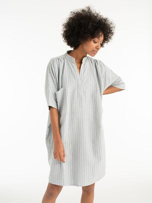 Split Neck Dress-Stripe