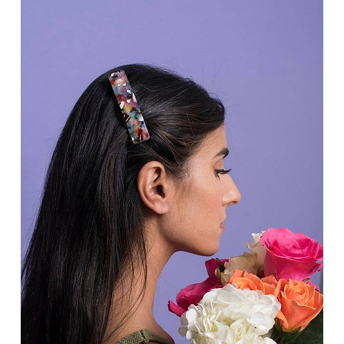 French Barrette in Rainbow Tortoise