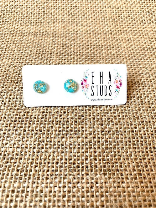 Resin Studs with Gold Leaf-Mint