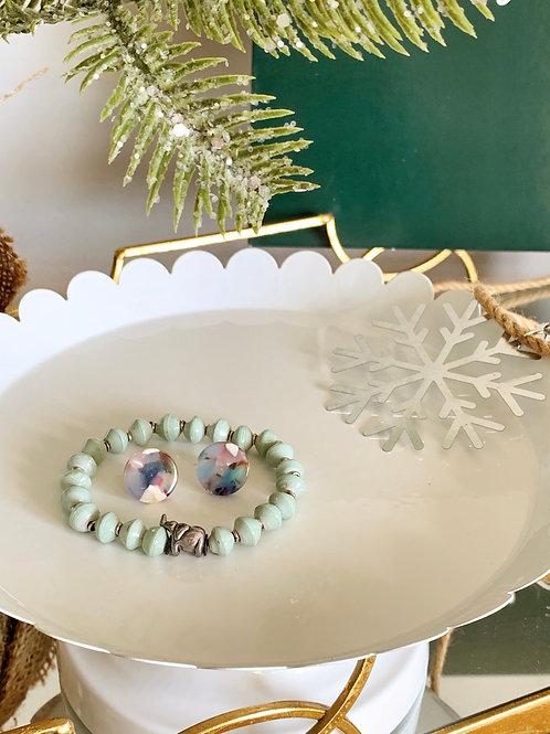 Charm Paperbead Bracelet/Rainbow Circle Stud-Holiday Bundle