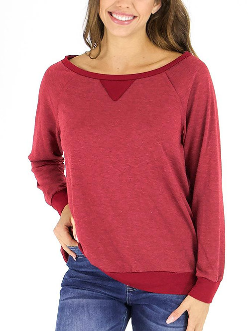 Slouch Pullover - Heathered Ruby
