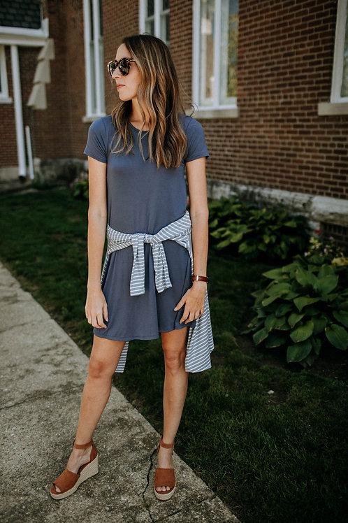 Blueberry Pocket Swing Dress
