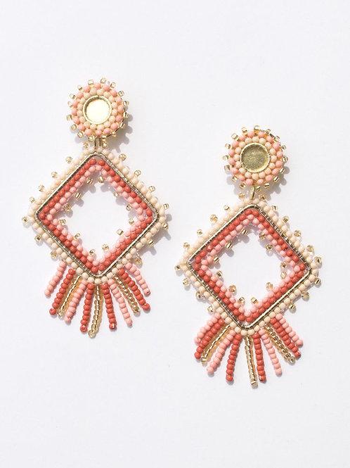 Chelsea Beaded Earrings-Rose
