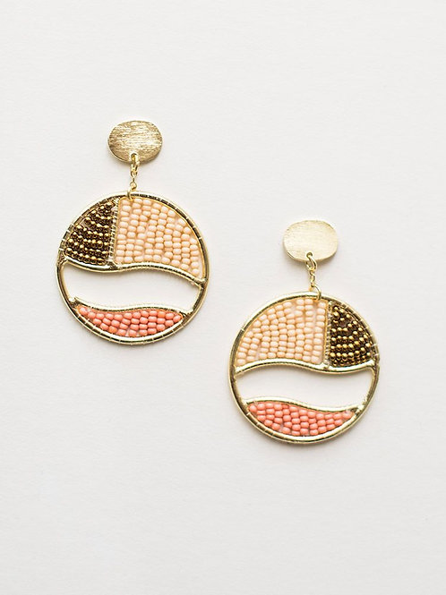 Beaded Canvas Earrings-Gold