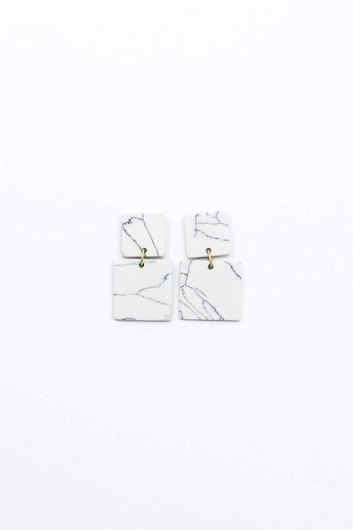 Square Marble Earrings-White