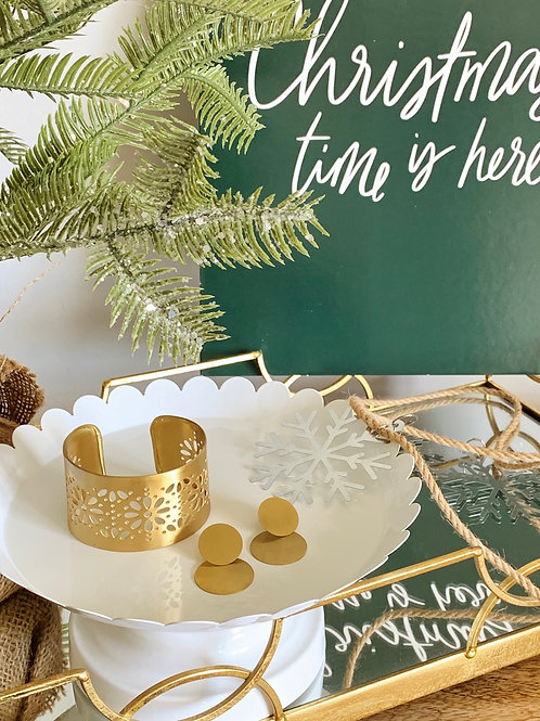 Marguerite Cuff/Circle Earrings-Holiday Bundle