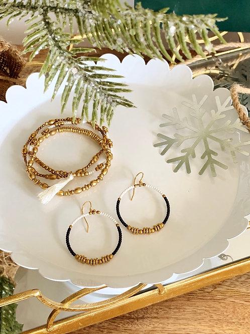 Cali Trio Bracelet (white)/Colorblock Brass Hoop (black & white)-Holiday Bundle