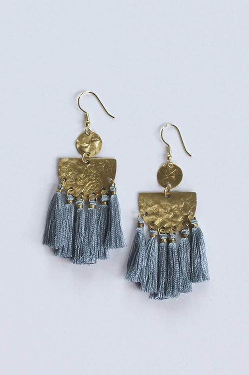 Tasseling Blue Earrings