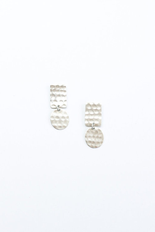 Hammered Shapes Earrings-Silver