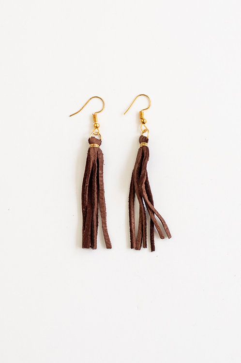 Saddle Leather Tassel Earrings