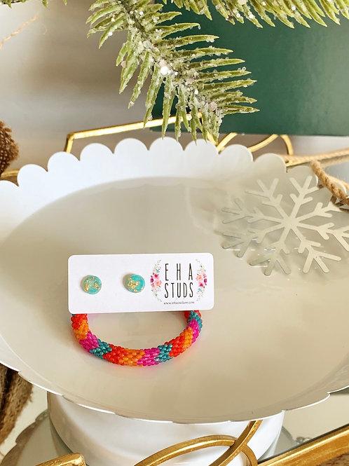 Kids Roll-on Bracelet/Resin gold-leaf Studs-Holiday Bundle