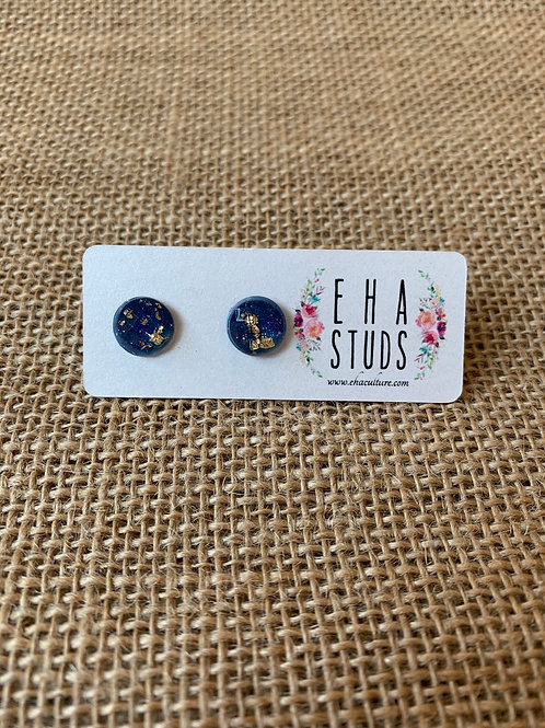 Resin Studs with Gold Leaf-Navy