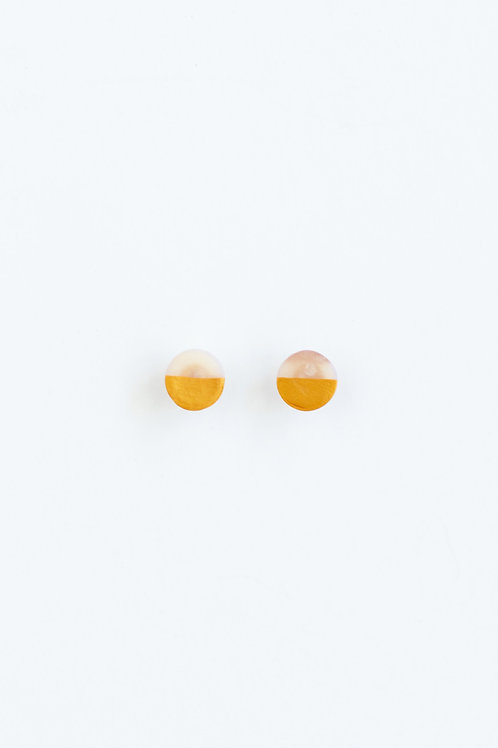 Clay Stud Earrings - Marbled Gold