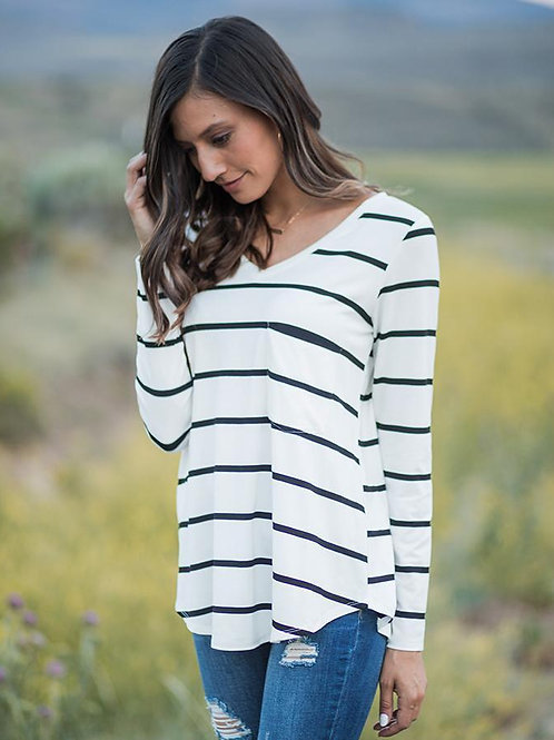Long Sleeve Perfect Pocket Tee-Black &White Striped