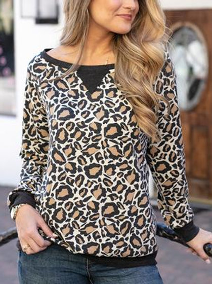 Slouch Pullover - Leopard