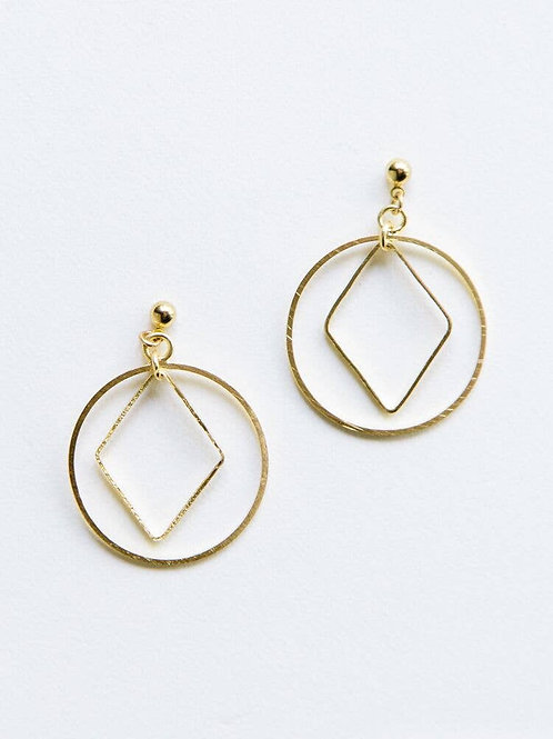 Diamond Hoop Studs-Gold