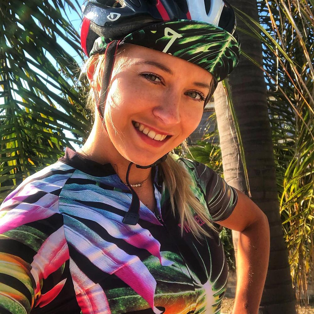 She's a Cyclist wearing a TROFEO.Cycling Tropical Zen cycling jersey