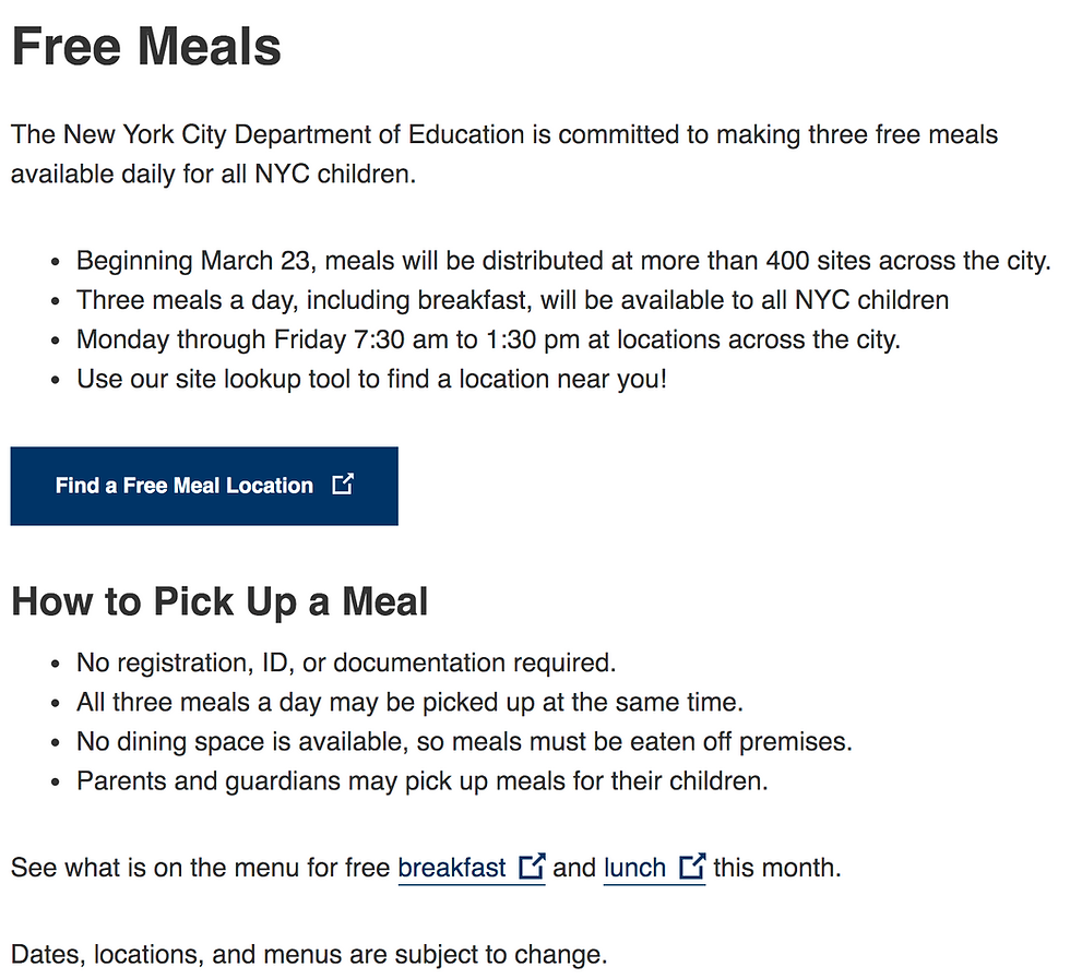 new york city free meal location finder.