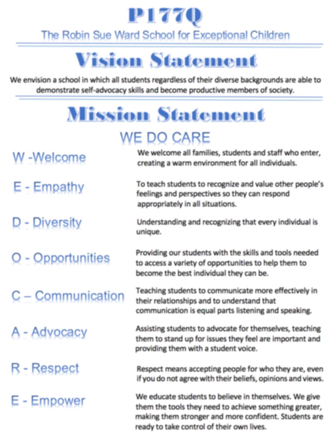 public school 177q mission and vision st